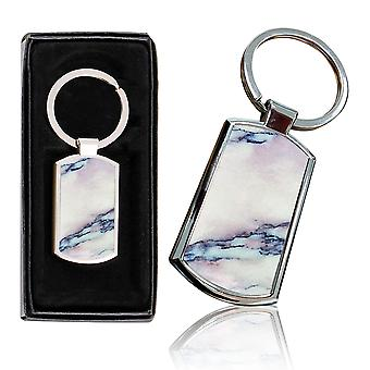 i-Tronixs - Premium Marble Design Chrome Metal Keyring with Free Gift Box (3-Pack) - 0052