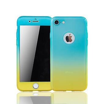 Apple iPhone 8 mobiili suojan osalta täysin kattaa säiliö lasi sininen / keltainen