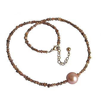 قلادة المرأة - الماس - الشمبانيا - البرونزية - اللؤلؤ - السلمون - ارتفع - 45 سم