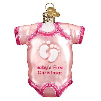 Old World Christmas Pink Baby One Piece Babys First Holiday Ornament Glass