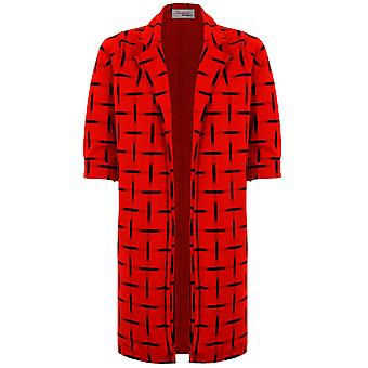 Damen überprüft Check lange Boyfriend Blazer Anzug Jacke Mantel Damenhose