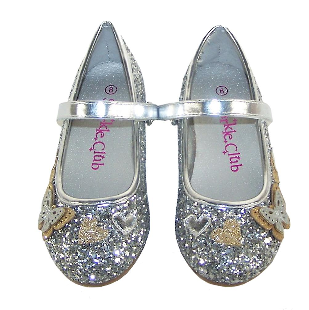 Girls silver glitter ballerina party shoes and bag set