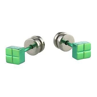 TI2 Titanium Square Ohrstecker - frisches Grün