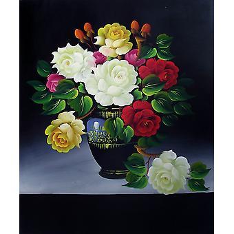 Rózsák, olajfestmény vásznon, 50x60 cm