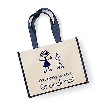 Large Navy Jute Bag I'm Going To Be A Grandma