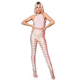 Lovemystyle Pink And Gold Co-ord Featuring Crop And Trousers