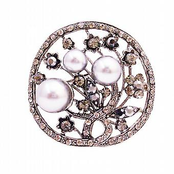ユニークなクリスマスの贈り物グレー真珠ブラック ダイヤモンド結晶ラウンド ブローチ