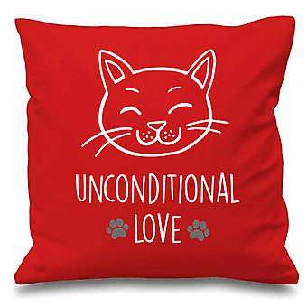 Coussin rouge couverture chat inconditionnel amour 16