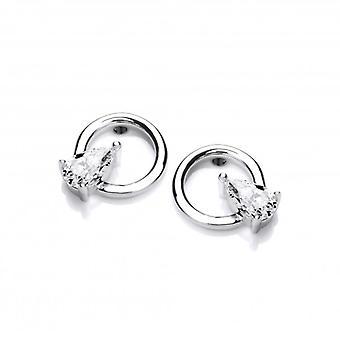 Cavendish francese argento e CZ pera Hoopla orecchini