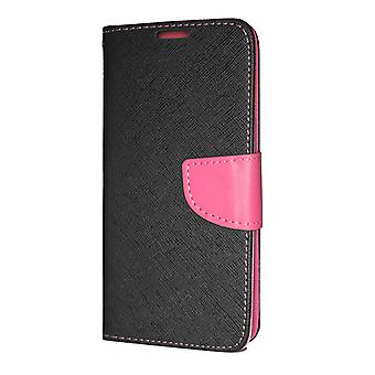 Huawei P30 Wallet Case Fancy Case + wrist strap Black-pink