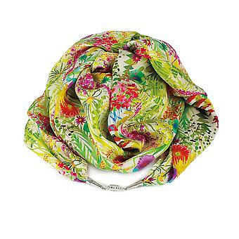 Eternal Collection Tropical Sunrise Liberty Print Pure Satin Silk Infinity Scarf