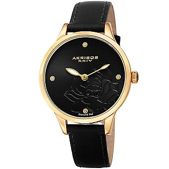 Akribos XXIV Women es Diamond Accented Flower graved Dial Leather Strap Watch AK1047BK