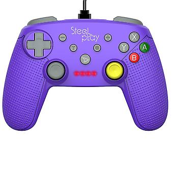 Steelplay-controlador con cable GCube Purple para Nintendo switch