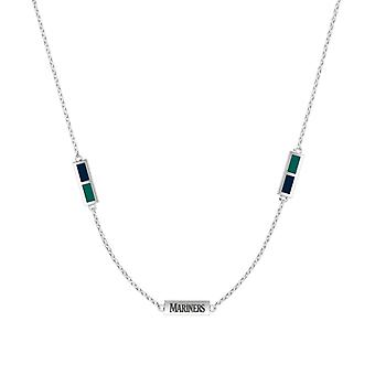 Seattle Mariners Sterling Silver Engraved Triple Station Necklace In Blue & Blue Green