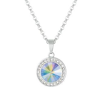 Eternal Collection Viva Aurora Borealis Austrian Crystal Silver Tone Pendant