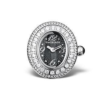 Timebeads Black & CZ Oval Watch Charm With Clip Fastening TB2004CZBK
