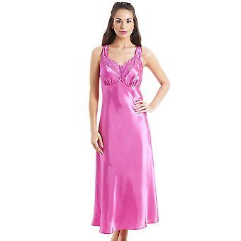 Camille Luxus langen rosa Spitze Satin Hemd