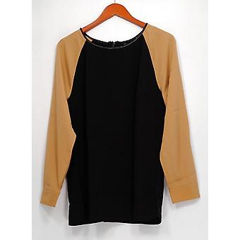 View by Walter Baker Women's Top Color Block Long Sleeve Black A263081