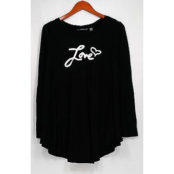 AnyBody Top Loungewear Brushed Hacci Message Top w/ Swing Hem Black A292756