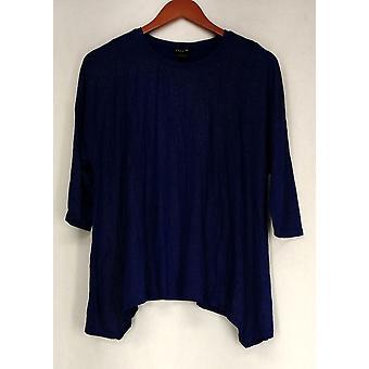 Iman Top Crew Neck 3/4 Sleeve Stretch Knit Dark Blue Womens 443-922