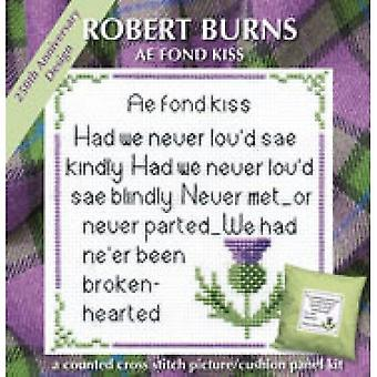 Counted Cross Stitch Rabbie Burns Ae Fond Kiss Card Kit by Textile Heritage