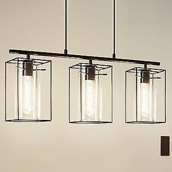 Eglo Loncino Triple Pendant Light In Black Steel And Smoked Glass