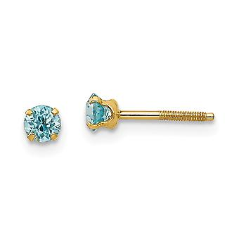 14k Yellow Gold Polished Screw back Post Earrings 3mm Blue Zircon for boys or girls Earrings Measures 4x4mm