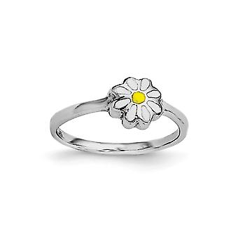 925 Sterling Silver Polished Rh Plated for boys or girls White and Yellow Enamel Daisy Ring - Ring Size: 3 to 4