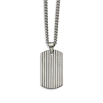 Tungsten Polished Dog Tag Necklace - 22 Inch