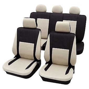 Black & Beige Seat Covers Package Washable For Mercedes C-Class 2007-2018