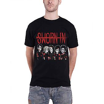 Sworn In T Shirt Zombie Graphic Band Shot Logo Official Mens New Black