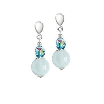 Éternelle Collection matin de rosée Blue/Aqua cristal tchèque fermoir Clip de Drop sur boucles d'oreilles