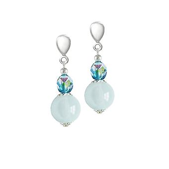 Eternal Collection Morning Dew Blue/Aqua Czech Crystal Silver Tone Drop Clip On Earrings