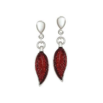 Eternal Collection Willow Red Leaf Silver Tone Drop Clip On Earrings