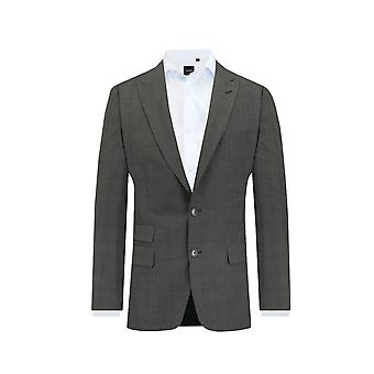 Dobell Mens Charcoal 2 Piece Suit Tailored Fit Peak Lapel Windowpane Check