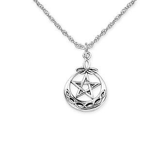 "Ancient Celtic Pentagram Round Shaped Necklace Pendant - Includes A 16"" Silver Chain"