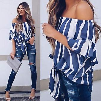 AMAURAS Womens Striped Off Shoulder Top Bell Sleeve Shirt, Blue, Size X-Large