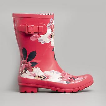 Joules Molly Welly Ladies Rubber Mid Height Wellington Boots Raspberry Bircham Bloom