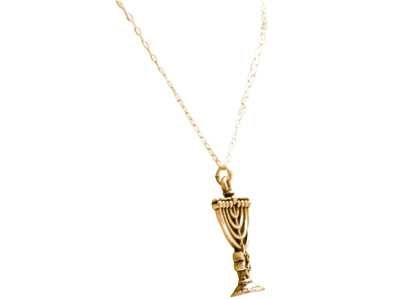 Gemshine Halskette Menorah Kerzenleuchter Chanukka 925 Silber, vergoldet, rose