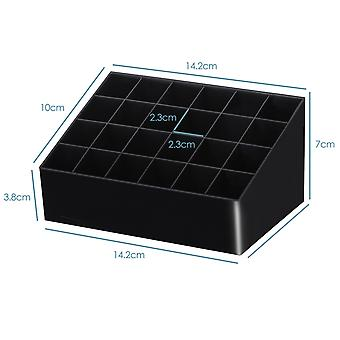 TRIXES batom Holder 24 compartimentos acrílico cosméticos Case – cor preto