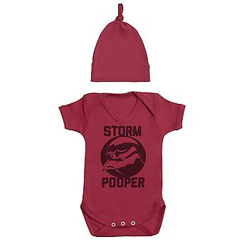 Storm Pooper, Red Baby Bodysuit, Red Baby Tietop Hat, Baby Outfit