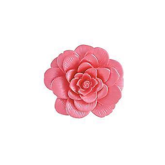 Eternal Collection Camellia Pink Enamel Silver Tone Flower Brooch