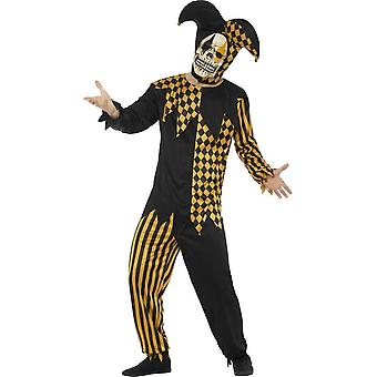 Evil Court Jester Costume, Black & Gold, with Top, Trousers, Headpiece & Latex Mask