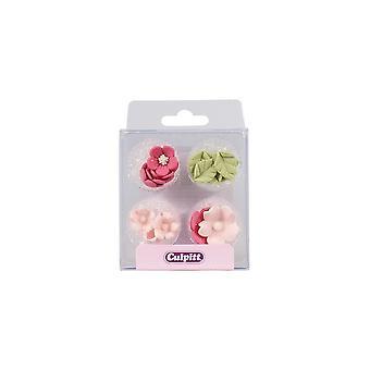 Culpitt Pink Sugar Flowers & Leaves - 16 Pieces
