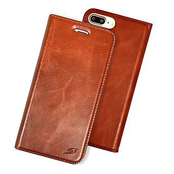 Para iPhone 8 PLUS,7 PLUS Wallet Case, Fashion Oilwax Capa de Couro Genuína, Marrom