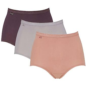 Sloggi Women Basic 3 Pack Maxi Brief, Plum / Light Combination, Size 14