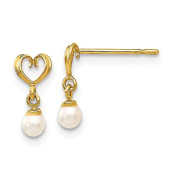 14k Yellow Gold Polished Madi K Freshwater Cultured Pearl Love Heart Dangle Post Earrings Jewelry Gifts for Women
