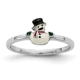 925 Sterling Silver Rhodium plated for boys or girls Enameled Snowman Ring - Ring Size: 3 to 4