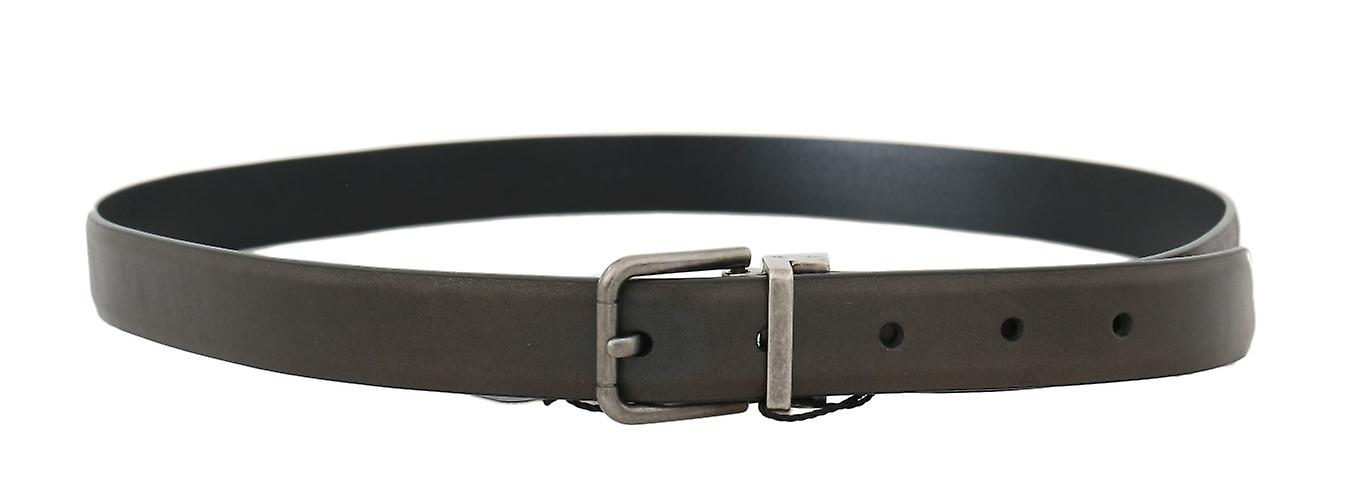 Brown Leather Gray Brushed Buckle 3 cm Belt