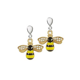 Eternal Collection Buzzy Bee Enamel And Crystal Two Tone Drop Clip On Earrings